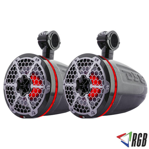 "HYDRO 8"" WAKEBOARD POD TOWER SPEAKER WITH INTEGRATED RGB LED LIGHTS 425 WATTS BLACK CARBON FIBER (PAIR)"