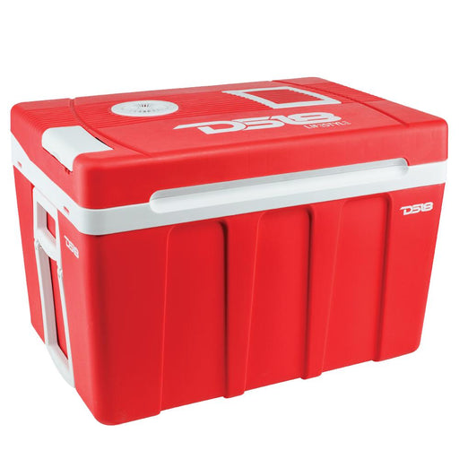 LIFESTYLE AC/DC TRAVEL THERMOELECTRIC COOLER AND WARMER WITH WHEELS - 50 L CAPACITY, RED