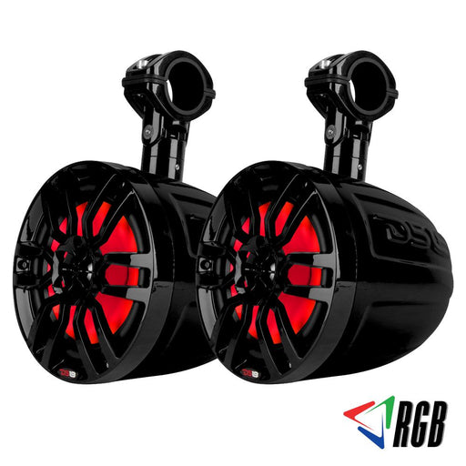 "HYDRO 8"" SLIM WAKEBOARD POD TOWER SPEAKER WITH INTEGRATED RGB LED LIGHTS 375 WATTS MATTE BLACK (PAIR)"