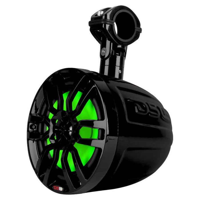 "HYDRO 6.5"" SLIM WAKEBOARD POD TOWER SPEAKER WITH INTEGRATED RGB LED LIGHTS 300 WATTS MATTE BLACK (PAIR)"