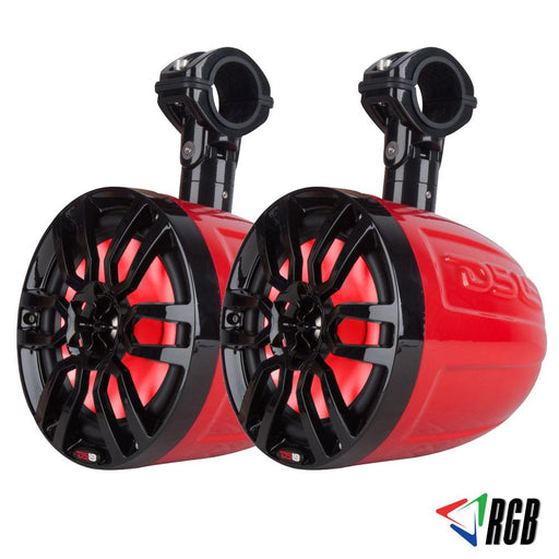 "HYDRO 8"" SLIM WAKEBOARD POD TOWER SPEAKER WITH INTEGRATED RGB LED LIGHTS 375 WATTS (PAIR)"