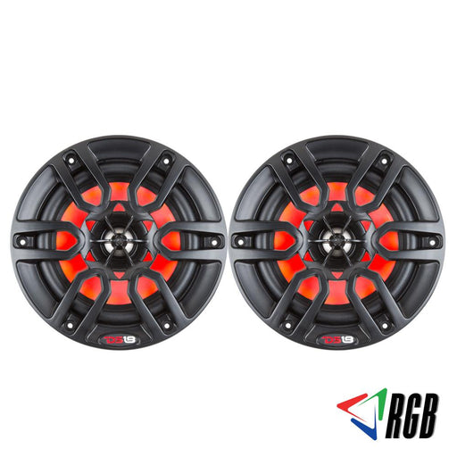 "HYDRO 6.5"" 2-WAY MARINE SPEAKERS WITH INTEGRATED RGB LED LIGHTS 300 WATTS MATTE BLACK (PAIR)"