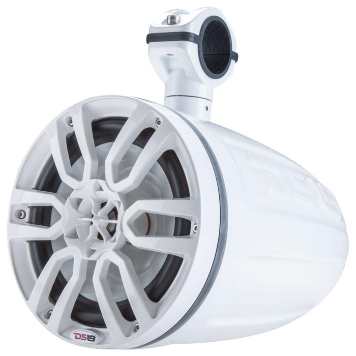 "HYDRO 6.5"" 2-WAY MARINE WAKEBOARD POD TOWER SPEAKERS WITH 1"" COMPRESSION DRIVER AND INTEGRATED RGB LIGHTS 450 WATTS MAX WHITE (PAIR)"