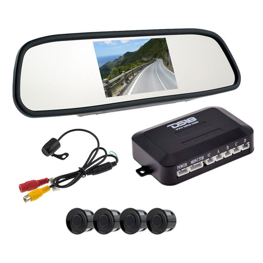 PACKAGE INCLUDES UNIVERSAL REAR VIEW MIRROR, 4 REVERSE BACKUP SENSORS AND REVERSE CAMERA