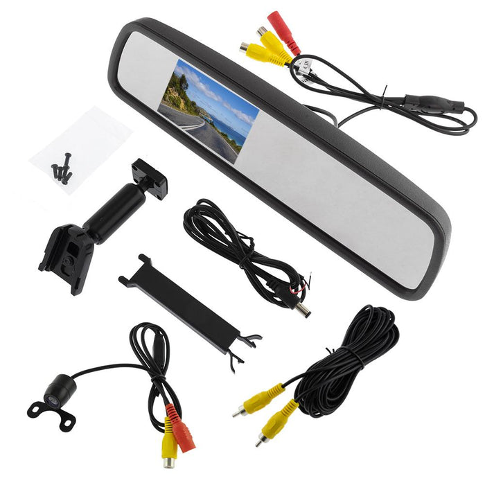 "REARVIEW MIRROR WITH 4.3"" LCD DISPLAY FOR REVERSE CAMERA WITH SPECIAL MOUNT"