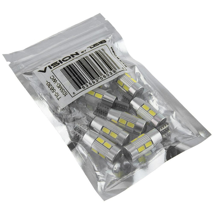 VISION LED BULB 10SMD 5630 WHITE CANBUS PACK OF10