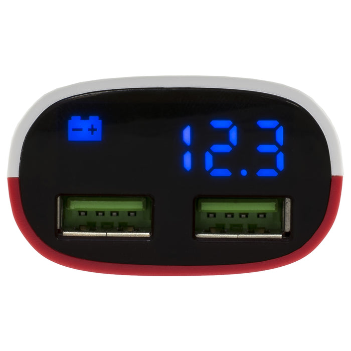 CAR VOLTMETER WITH DUAL QUICK CHARGER USB PORTS RED