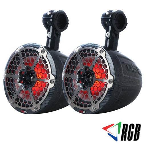 "HYDRO 8"" SLIM WAKEBOARD POD TOWER SPEAKER WITH INTEGRATED RGB LED LIGHTS 450 WATTS BLACK CARBON FIBER (PAIR)"