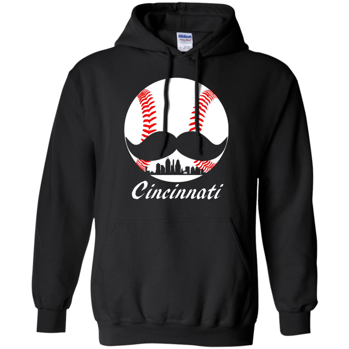 Cincinnati Baseball Shirt  Mustache and Skyline design