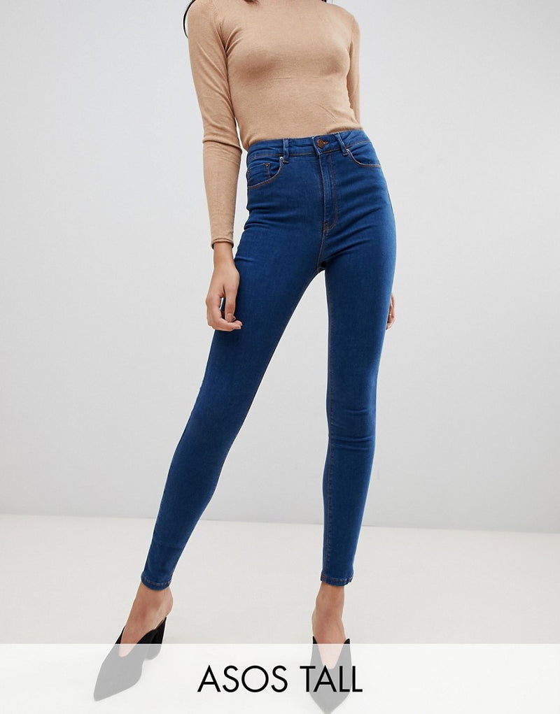 0ab1692c060 ASOS DESIGN Tall Ridley high waist skinny jeans in flat blue wash