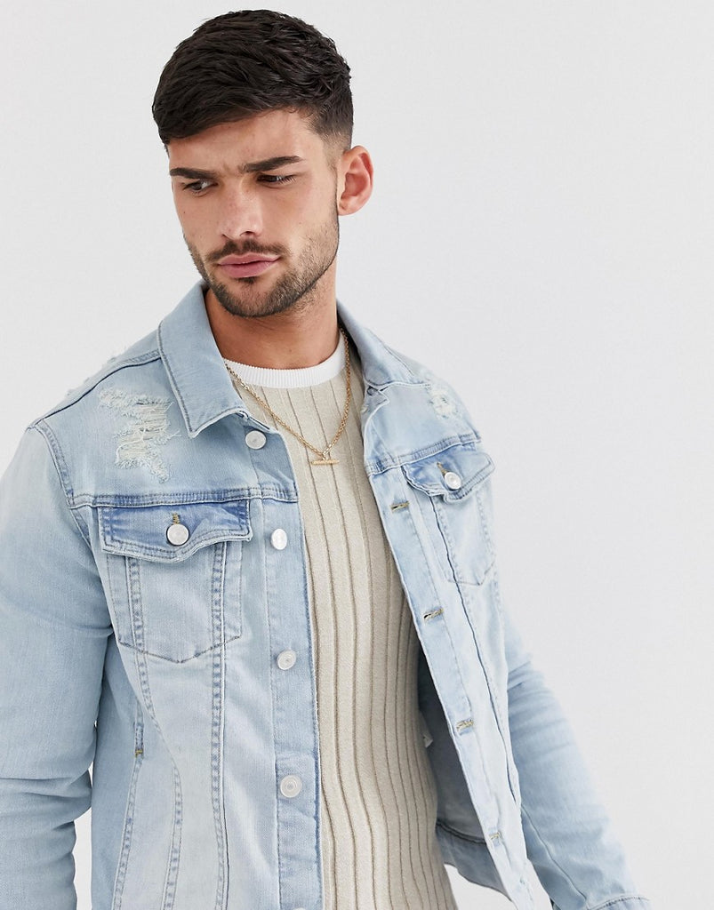 d4fb7009762 River Island muscle fit denim jacket in light blue