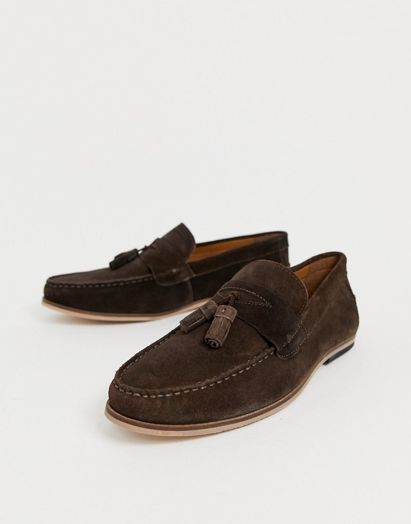b94049f061244 Moss London TASSEL loafer in brown suede
