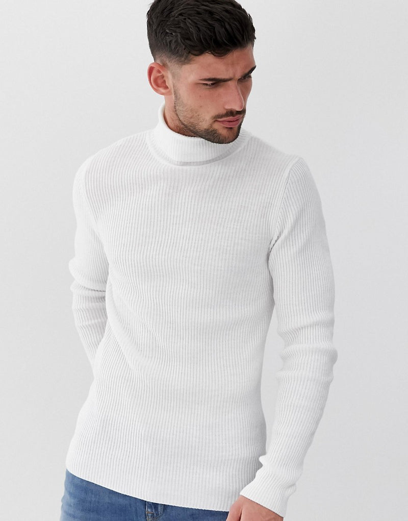 afeec904 asos-design-muscle-fit-ribbed-roll-neck-jumper-