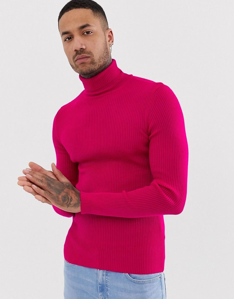 127570a2 asos-design-muscle-fit-ribbed-roll-neck-jumper-