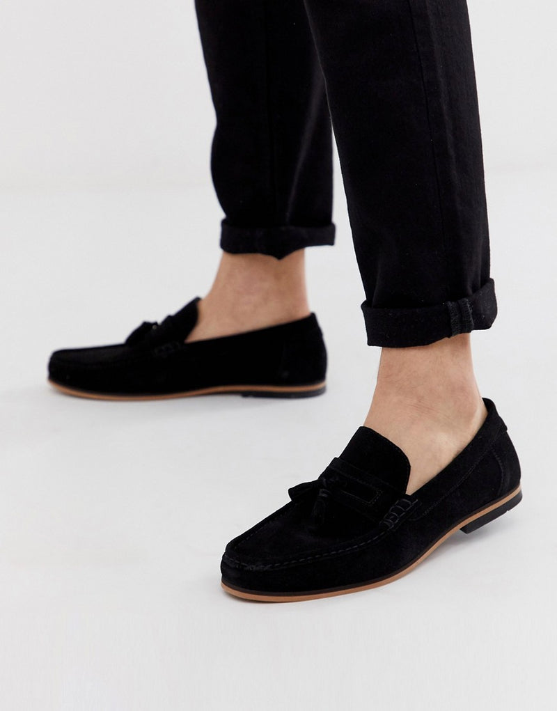 38a774358a4e ASOS DESIGN tassel loafers in black suede with natural sole
