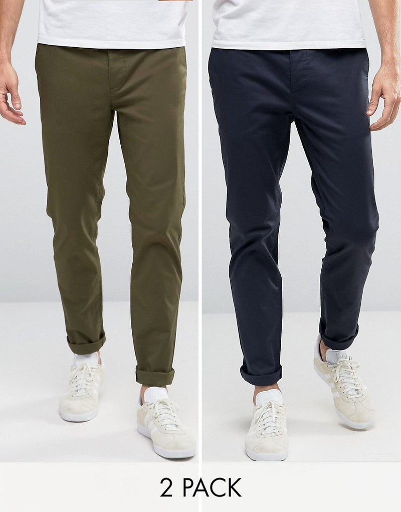 3919c4ad5a18 ASOS 2 Pack Slim Chinos In Khaki & Navy SAVE