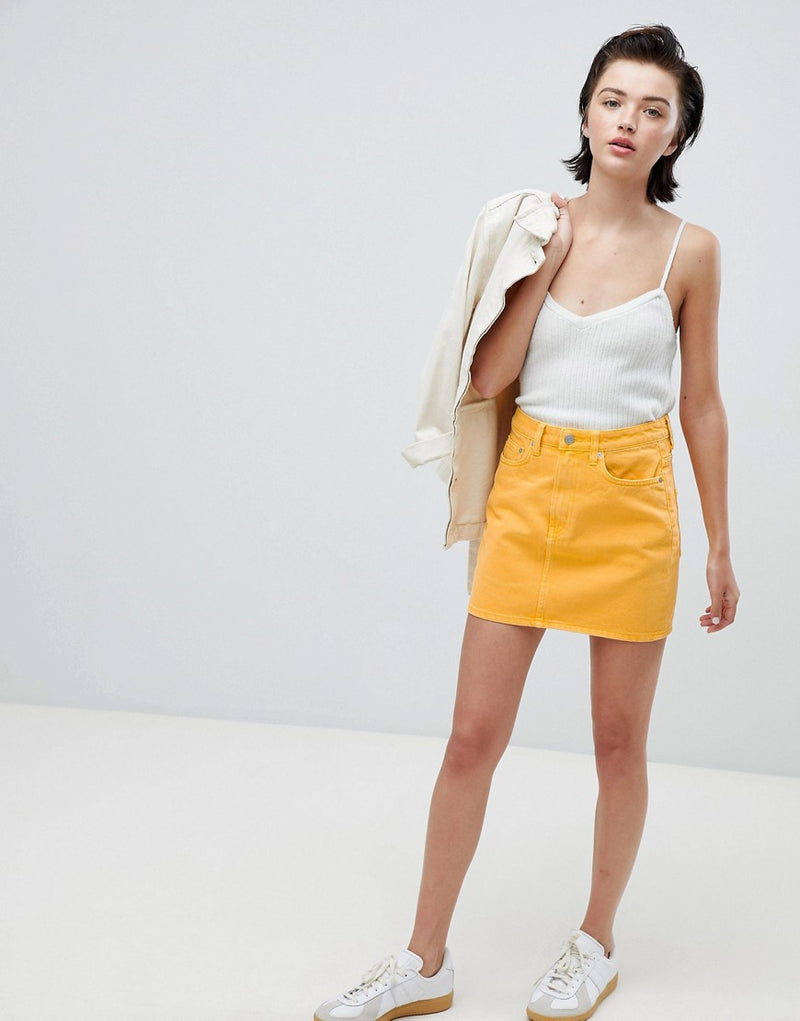 f5837b4993 Weekday wend denim mini skirt in yellow