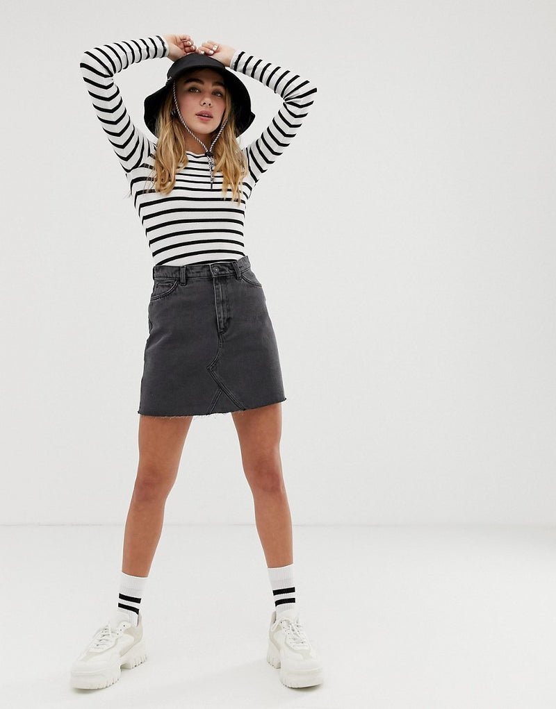 739e8bc822 Monki denim mini skirt with organic cotton in wash black