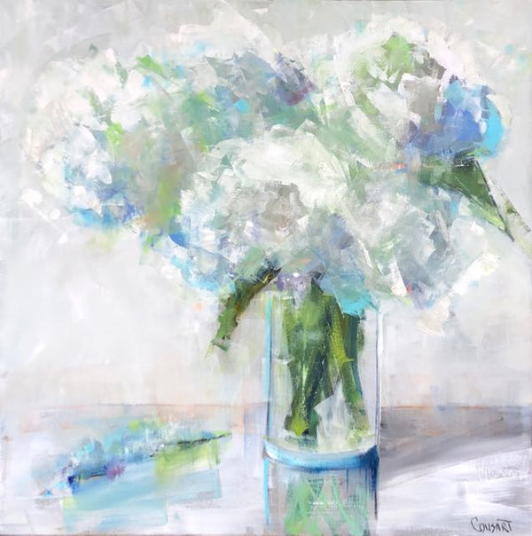 Angel Wing Hydrangeas,40x40 Oil
