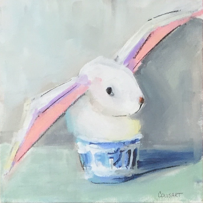 Bunny In Chinoiserie Pot, 12 x 12