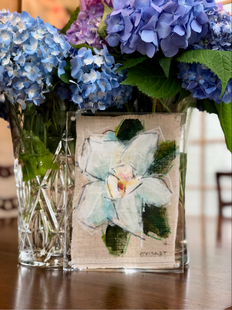 Little Bitty Blessing Floral #215, 7x5 Painting on Beautiful Linen with Hand Frayed Edges, Frame Included