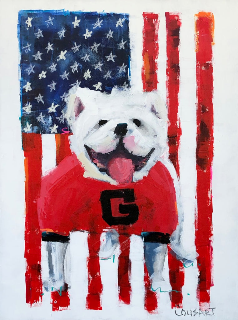 Georgia Bulldog On Flag Vertical 40x30