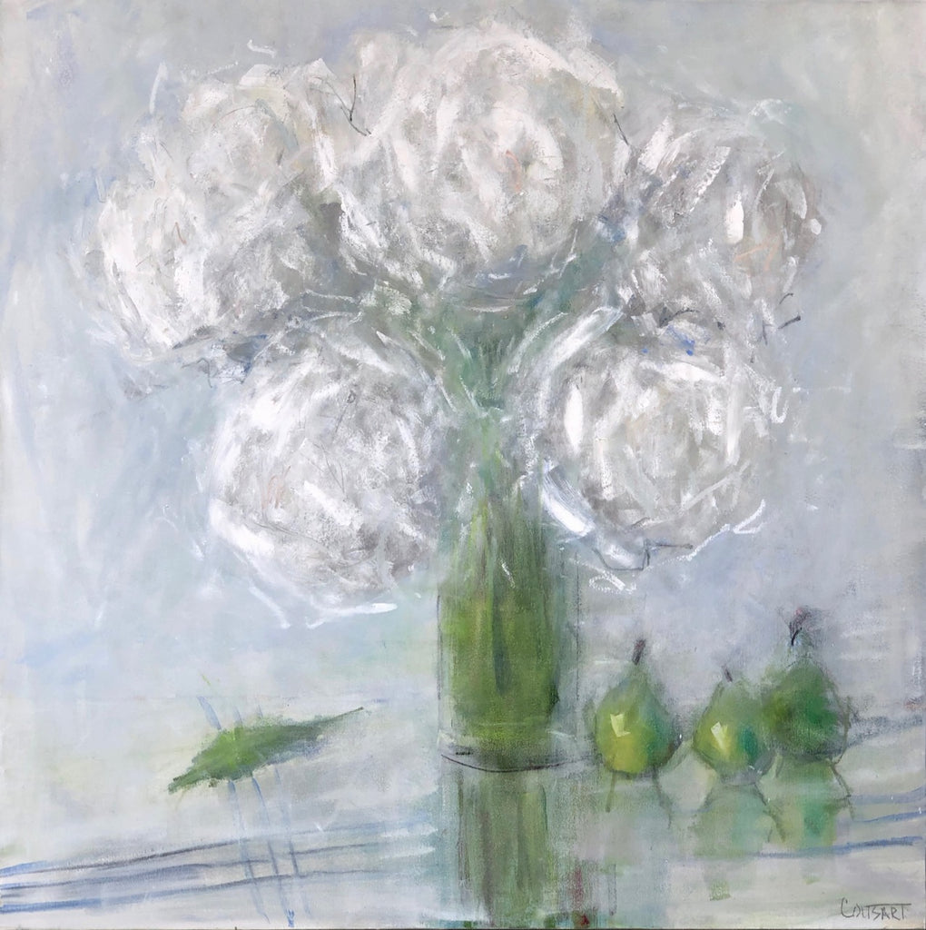 Hydrangeas With Pears Abstracted, 40x40