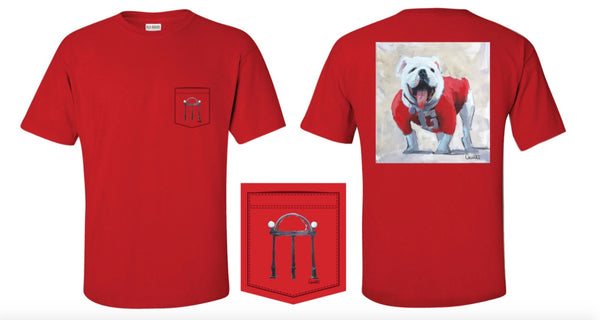 UGA Arch on Pocket/UGA Bulldog on Back Tee LIMITED EDITION-Men's Large