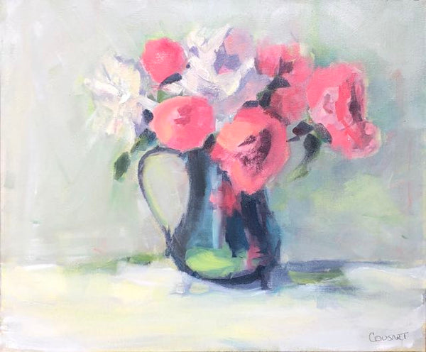 Peonies In Silver Teapot with Chartreuse, 20x24 Oil