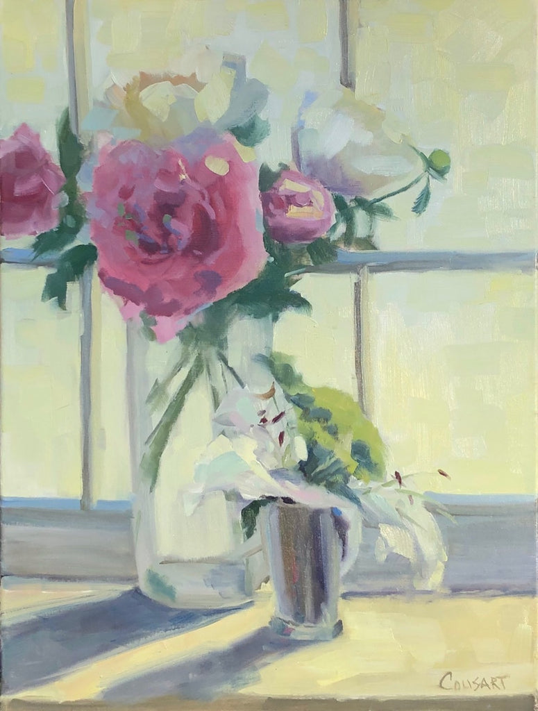 Sunlit Peonies, 24x18 Oil on Linen