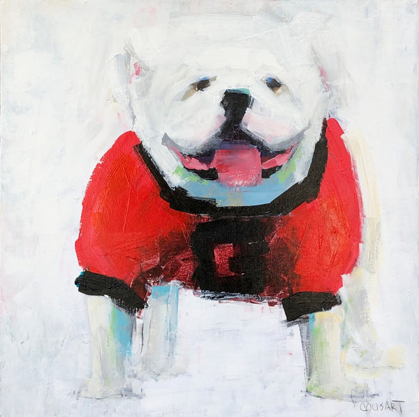 UGA Bulldog On White, 24x24