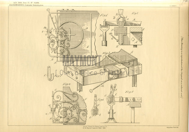 Metal Openwork Hainsworth Original Patent Lithograph 1888