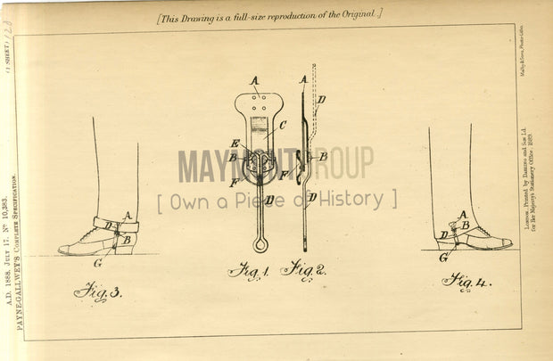 Trouser Clips Payne-Gallwey Original Patent Lithograph 1888