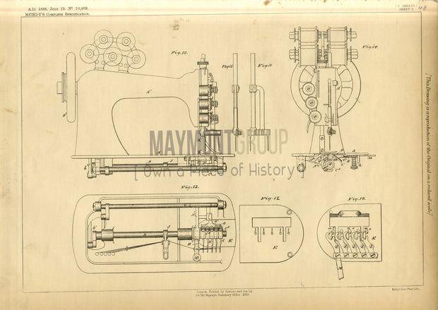Sewing Machines Mundy Original Patent Lithograph 1888