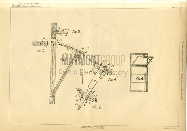 Window Opening Apparatus Pullar Original Patent Lithograph 1888
