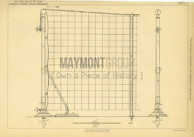 Lawn Tennis Net Support Sanday & Parr Original Patent Lithograph 1888