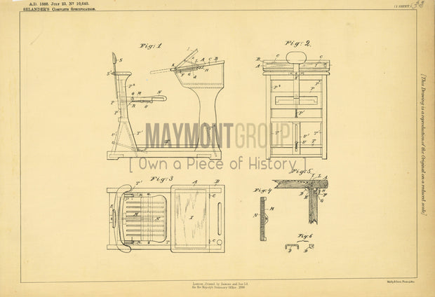 School Desks and Seats Selander Original Patent Lithograph 1888
