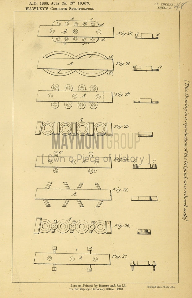 Soles and Heels Hawley Original Patent Lithograph 1888