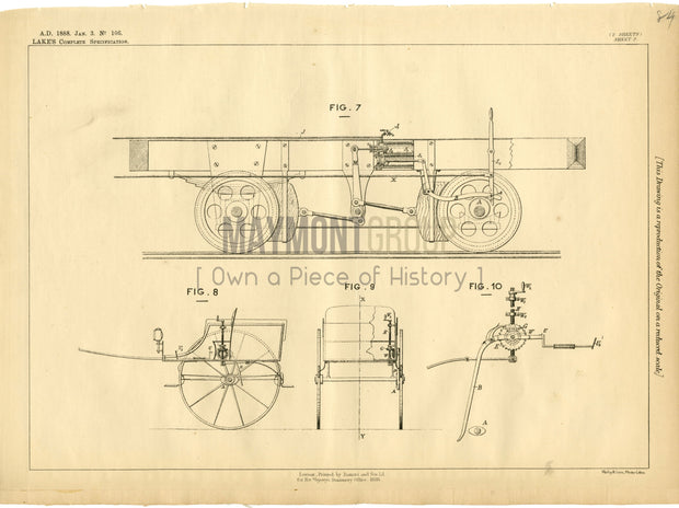 Brakes for Lifts (Lake) Schauffer & Bayon Original Patent Lithograph 1888