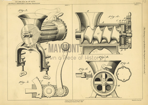 Mincing Machine Leopold & Supplee Original Patent Lithograph 1888