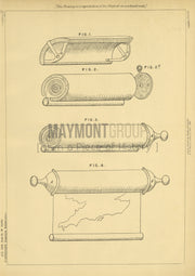 Map Roller Partridge Original Patent Lithograph 1888