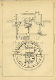 Turret Gun Mounting Christie Gledhill and Carington Original Patent Lithograph 1888