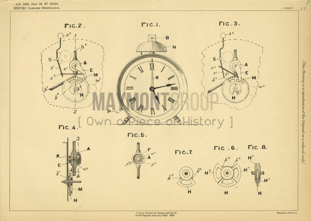 Signal Lamps Reeves Original Patent Lithograph 1888