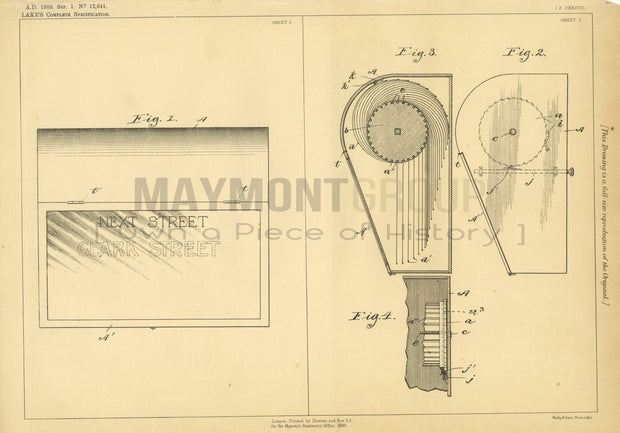 Route Indicator for Vehicles Williams (Lake) Original Patent Lithograph 1888