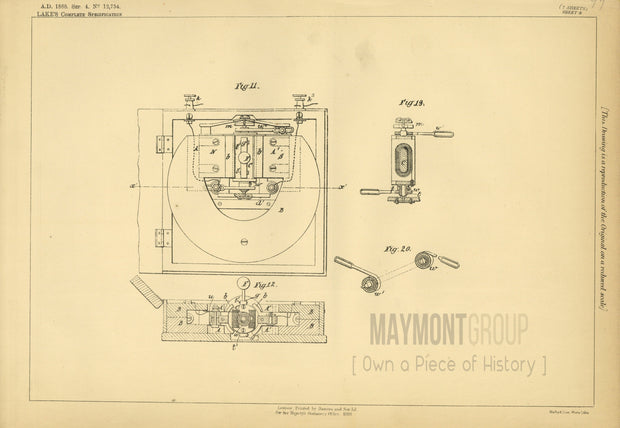 Magneto-Electric Bell Indicators Humans (Lake) Original Patent Lithograph 1888