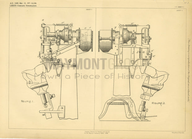 Nailing Machine Copeland (Lake) Original Patent Lithograph 1888