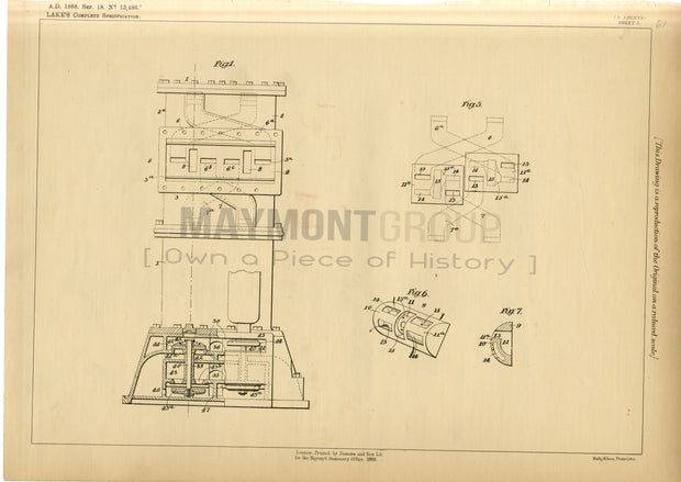 Valves Gears for Pumping Engine Shortt (Lake) Original Patent Lithograph 1888