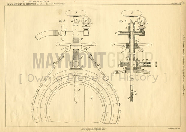 Apparatus for Aerating Liquids Brin's Oxygen Co. and Goble Original Patent Lithograph 1888