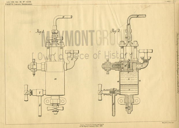 Power Engine Lubricator Paley Original Patent Lithograph 1888
