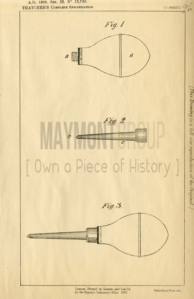 Ornamenting Glass & Pottery Like Surfaces Thatcher Original Patent Lithograph 1888